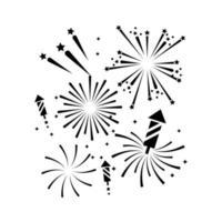 conjunto de ícones de silhueta de fogos de artifício vetor