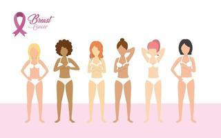 conjunto de mulheres e fita rosa de câncer de mama