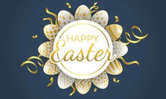 feliz Páscoa círculo moldura com ovos estampados