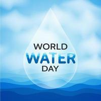 design do dia mundial da água com queda sobre a água vetor