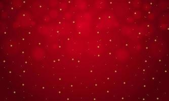 flocos de neve dourados caindo no design bokeh vermelho vetor