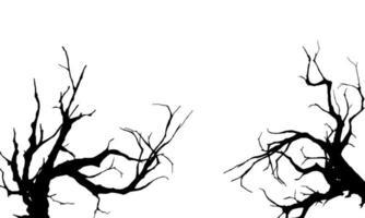 conjunto de silhueta de dois galhos de árvore vetor