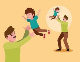 pai e filho brincando vetor