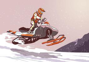 Salto de snowmobile vetor