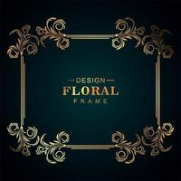 linda moldura floral dourada vetor