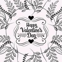 corações e folhagens cartão de dia dos namorados vetor