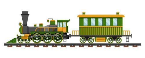 trem vintage na ferrovia vetor