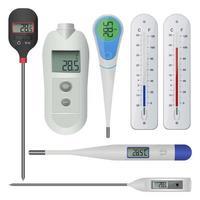 termômetro eletrônico isolado no fundo branco vetor