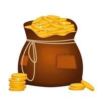 bolsa grande cheia de moedas de ouro vetor
