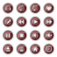 ícone de botão de metal definido para media player vetor
