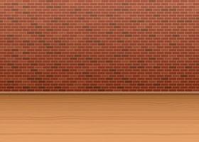 parede de tijolos e piso de madeira vetor