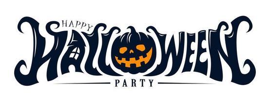 feliz festa de halloween design de texto vetor