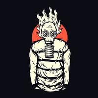 Homem assustador com máscara de gás com design de camiseta preta