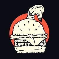 design de camiseta preta monstro hambúrguer vetor