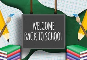 bem-vindo de volta à escola no quadro-negro com elementos vetor