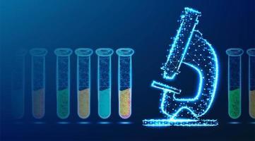 microscópio e tubo de ensaio design de wireframe baixo poli vetor