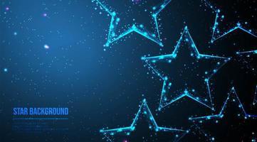 estrelas de wireframe poligonais abstratas em azul escuro vetor