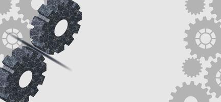 tecnologia digital e design de engenharia com rodas dentadas cinza vetor