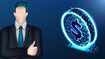 empresário e wireframe malha moeda de dólar vetor