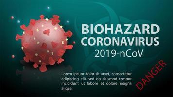 modelo de banner de coronavírus de risco biológico vetor