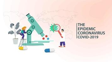 banner de laboratório de ciências e pandemia de coronavírus