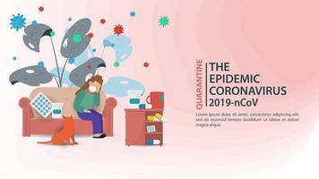 prevenção de coronavírus e banner de quarentena