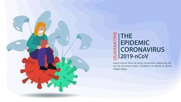 prevenção de coronavírus e banner de quarentena vetor