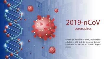 modelo de banner científico de coronavírus vetor