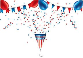 Party popper us colors vector