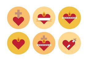 Ícones dos corações sagrados vetor
