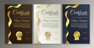 conjunto de modelos de certificado premium marrom, branco e azul vetor