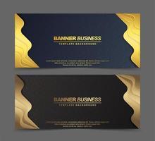 banners de luxo em azul e marrom com bordas douradas vetor
