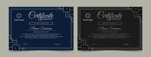conjunto de certificado de conquista de cor escura vetor