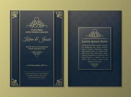 cartão de convite ouro e azul vintage de luxo vetor