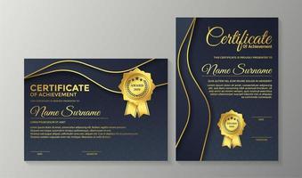 modelo de design de certificado premium da marinha dourado vetor