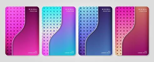 conjunto de gradiente colorido e conjunto de capa padrão vetor