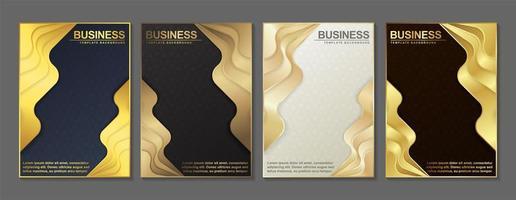 conjunto de capa de camada ondulada dourada vetor