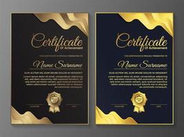 design de modelo de certificado premium marrom e azul vetor