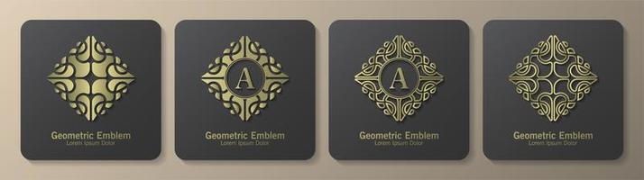 conjunto de emblemas de luxo de ornamento de diamante vetor