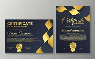 conjunto de certificado premium ondulado azul e dourado vetor