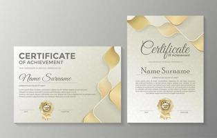 modelo de certificado profissional com camadas onduladas vetor