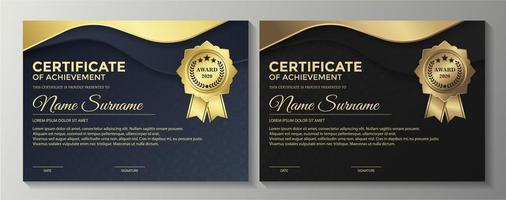 certificados premium ouro azul e marrom vetor