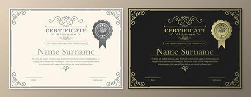 modelo claro e escuro de certificado de realização