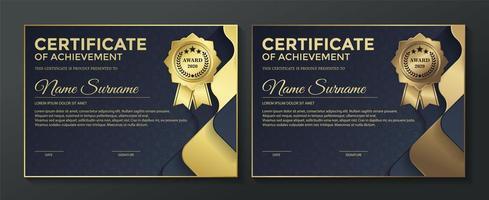 modelo de certificado com camadas onduladas azuis e douradas vetor