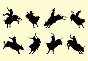 Silhuetas Bull Rider vetor