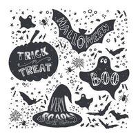 conjunto de símbolos de halloween desenhado à mão
