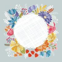 mão desenhada círculo coroa de flores vetor