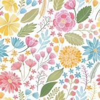 padrão de prado floral sem costura vetor