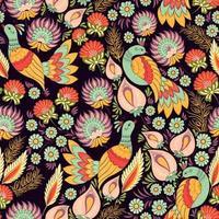 padrão ornamental sem costura com pássaros em estilo ucraniano vetor