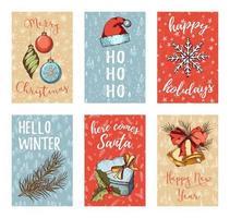 mão desenhada coleção de cartões de natal vetor